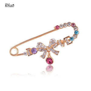 Exquisite Multi Color Crystal Love Rhinestone Brooches for women RHao bowknot colorful Safety pins for ladies gift