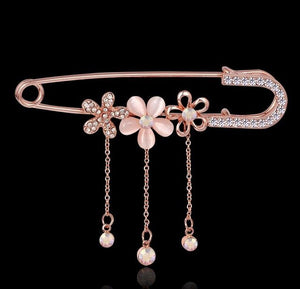 Safety Pins Gold brooch pins female pins and brooches for women rhinestone flower  collar pins broches