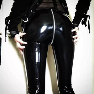 Women Sexy Shiny leather Leggings with Back Zipper Push Up Faux Leather Pants