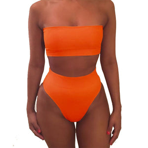 High Waist Biniki Sets Swimsuit Sexy Women Swimwear Solid Bikini Swimsuit