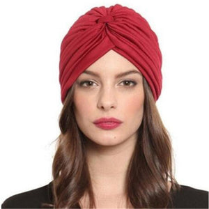 VIIANLES Indian Turban Caps New Fashion Skullies Women Soild Beanies Black White Red Caps Beige For Ladies Hats 21 Colors