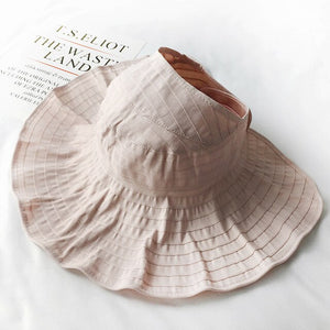2019 Summer Female Sun Shade Beach Hat Women Empty Top Foldable Girl Outdoor Sports Sunscreen Fishing Visors Casual Solid Hat