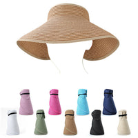 Hot Women Ladies Summer Wide Brim Roll Up Foldable Sun Beach Straw Visor Hat Cap