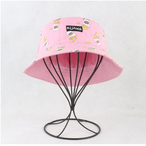 Panama Bucket Hat Men Women Summer Bucket Cap Banana Print Yellow