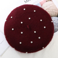 Ladies Autumn Winter Wool Berets Diamond  Boina for Women Warm Vogue French Hats Girls Painter Cap Beret Femme Red Beret