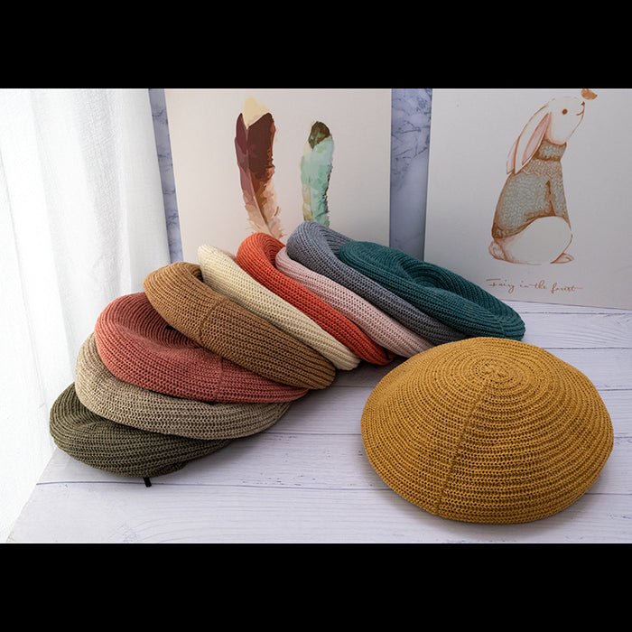 Beret female summer thin hat female wild Japanese painter hat autumn hollow breathable tide British berets caps for women