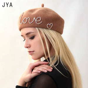 High Quality Knit 98% Pure Wool Beret Cap for Women Girls Winter Hat Elegant Female Beret British Style Solid Color
