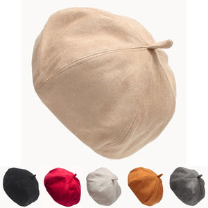 New Plain Elegant Beret Hat Wool Autumn Women Fashion Hats Winter Warm Cap All Matched 6 Colors
