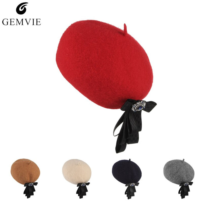 Fall Winter Hats Beret Cap for Women British Style Lady Elegant Solid Color Wool Blend Beret With Ribbon Bow Vintage Painter Hat