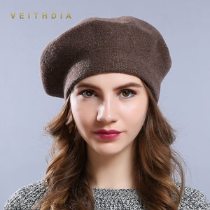 VEITHDIA New Winter Hat Berets Solid Wool Cashmere Womens Warm Brand Casual High Quality Womens Vogue Knitted Hats For Girls Cap
