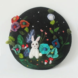 Cute Rabbit Handmade Wool Felt Beret Hand-embroidered Childlike Berets Caps for Women