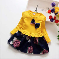 BibiCola Baby Girls 2 Pcs Dress Sets Kids Girls Autumn Dresses Children Girls Long Sleeve Bow Cloth Suit Kids Tops+ Sundress Set