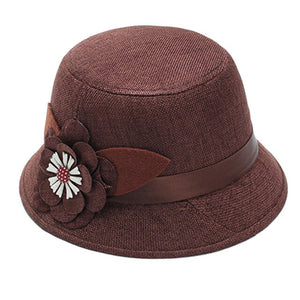 New Fashion Vintage Elegant Solid Color Women Floral Ribbon Linen Bowler Sun Hat Fedoras Bucket Cap