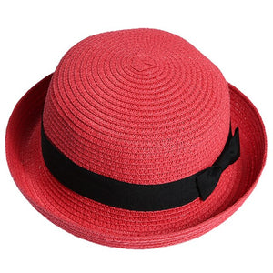 Hot Fashion 1pcs Beach Hat Lady  Women Straw Bowler Hat Sun Beach Fedora Derby Style Cloche Brim Cap Beige Top Hat Visor