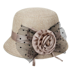 Women Polka Dot Mesh Large Flower Bowler Round Brim Hat Outdoor Sun Hat Basin Cap 6 Colors