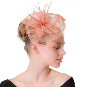 Champagne sinamay party fascinator hats feather flower hair accessories royal kentucky church headbands or multi-colors XMF218