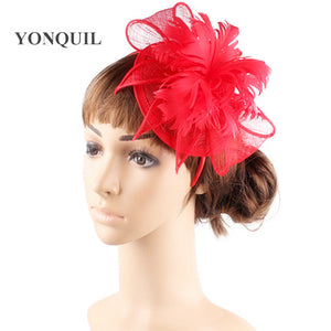 Orange church hairclip sinamay fascinator headwear feather flower party Event Headbands millinery cocktail hat or 17color MYQ360