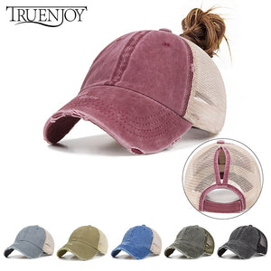TRUENJOY Summer Women's Mesh Ponytail Baseball Caps Fashion Snapback Caps For Female Sport Hat Ladies Bone high quality