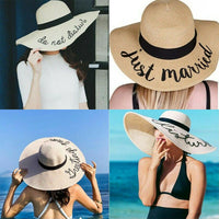 Fashion Ladies Women Summer Beach Holiday Sun Cap Wide Brim Travel Straw Casual Big Hat Unique Letter Casual Sunproof Sun Hats