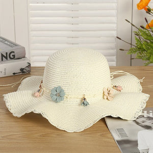 Fashion parent-child Cute flower sun hats Girl hand made straw wave wide brim sun hats casual shade hat summer woman beach hat