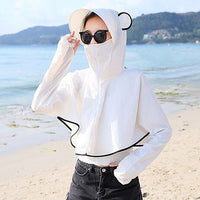 Women Summer Sunscreen Clothing Long Sleeve Shirt Hat Face Neck UV Protection Cover-ups Beach Outdoor riding Wear Cute ears Cap