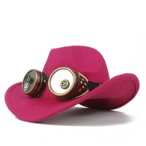 Steampunk Cowboy Hat For Women Men Wool Hollow Western Outblack Sombrero