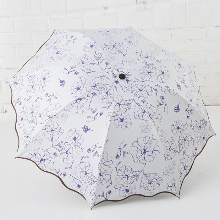 Artistic Umbrella rain women Floral Sunny and Rainy Dual Purpose Fold Black Coating Parasol Customized Gift