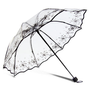 8 ribs folding clear umbrellas for female printed transparent rain umbrella women's parasol outdoor rain gear YS028