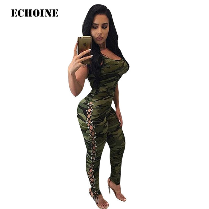 Echoine Camouflage Sleeveless Bodycon Spaghetti Strap Jumpsuit Sexy Female Club Outfit Romper Jumpsuit Overall Camo Playsuit