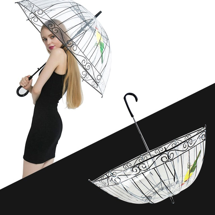 1PCS Plastic EVA Transparent Rain Umbrella Cute Bird Cage Parasol Long-handle