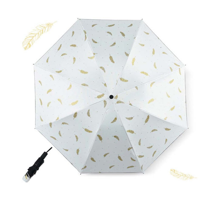 Windproof Mini Feather Umbrella Rain Women Durable Folding Sun Umbrellas Portable Sunscreen Female Parasol