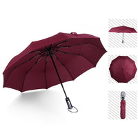 Automatic Umbrella Rain Women Three Folding Umbrellas Rain for Men Black Coating paraguas 10Ribs Strong Frame Windproof Parasol