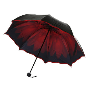 Best selling Windproof reverse folding women umbrella/three-fold flowers anti-UV sunshine double strong colourful parasols C510