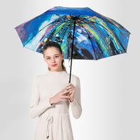 Exquisite Oil Painting Folding Umbrella Rain Women Parasol Quality Umbrellas Female Windproof Umbrella oddess rain sun umbrella