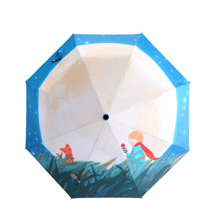 Little Prince Three Folding Umbrella For Women Anti-UV Sunscreen Parasol Creative Windproof Dual-use Sunny And Rain Umbrellas