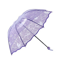 Clear Lace Transparent Umbrella Female Folding Umbrella Rain For Women Men paraguas
