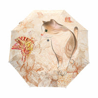 Cute Cat Printed Women Umbrella Windproof Rainproof Automatic Umbrellas Rain Women Parasol Three Folding Anti-UV Paraguas