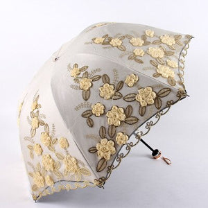 Tri-Fold Double-Layer Embroidery Flower Lace Umbrella Anti-Sun Parasol Black Plastic Anti-UV Umbrellas for Women