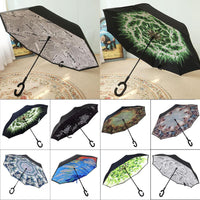 Reverse Umbrella Can Stand Reverse Parasol Umbrellas C Handle Windproof Rain Car Umbrellas For Women