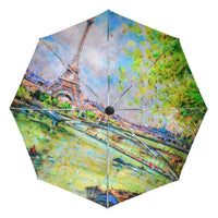 Fashion Parasol Whatercolor Eiffel Tower Umbrella Three Folding Uv Automatic Umbrella Sunny and Rainy Umbrella for Women Gift