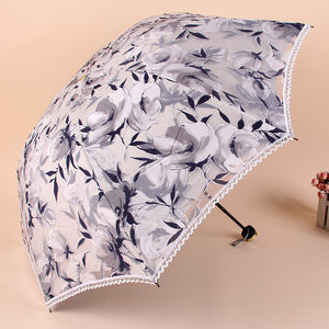 Hot!!! Women Sun Rain Umbrella Elegant Princess Lace Sunshade Umbrellas Three Folding Umbrella Anti-UV Parasol