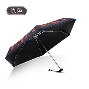 Compact Small Umbrella Uv Sunshade Female Male Waterproof Woman Men Rain Folding Mini Pocket Cute Umbrella Pattern Rain Gear