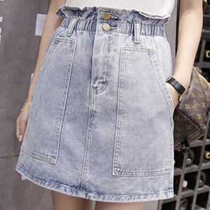 summer new solid color women's skirt elastic high waist denim skirts womens casual korean big pocket women fashion skirts 2019