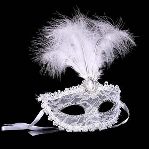 Novel Women Lady Eye Half Face Mask Cover Feather For Halloween