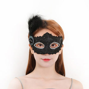Fashion Sexy Women Solid Black Lace Eye Face Mask Masquerade Party Theme