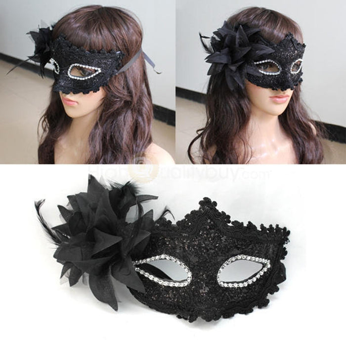 Fashion Women Sexy Black Lace Flower Half Face Eye Mask Party Dance Ball Masquerade Halloween Fancy Dress Venetian Costumes