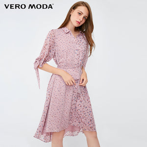 Vero Moda Women's Vintage Style Lace-up 1/2 Sleeves Decorative Buttons Floral Dress | 3183SZ505