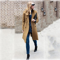 Autumn Winter Coat Women Long Trench Coats Plus Size Female Elegant Jackets Blazers Vintage Wool Ladies khaki Casual Overcoats
