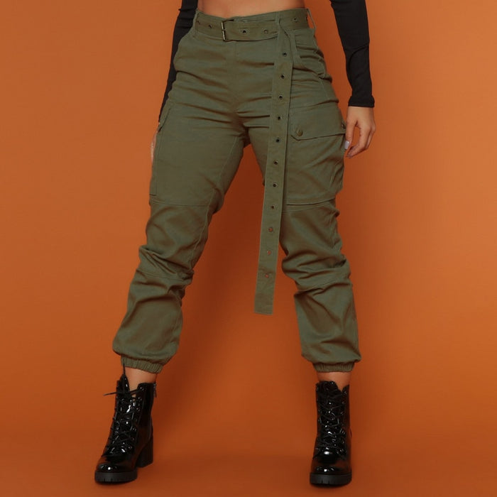 High waist camouflage loose joggers army Green Women's Casual Cargo Military
