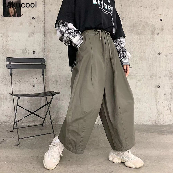 Cakucool 2019 spring and autumn Japanese retro wide leg pants loose high waist loose casual street trousers men and women couple